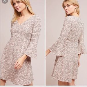 Maeve Anthropologie Red Tweed Bell Sleeve Dress